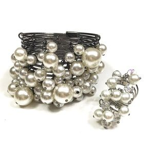 Faux Pearl Bracelet and Ring set